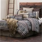 Southwestern Geometric pattern western bedding set perfectly blended with solid coordinated color, and concho accents. Set includes Comforter, Pillow Sham(s), Neck Roll Pillow, and co-ordinated Bedskirt. (Twin size includes one pillow sham)