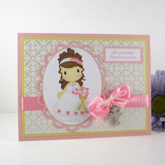 die cut communion card | Communion card for girl, personalized custom holy first communion card ...