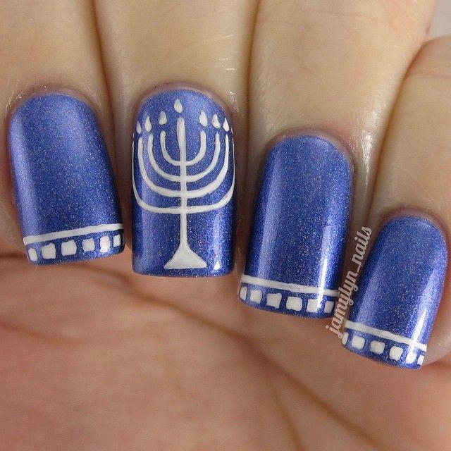Blue And White Hanukkah Nails With Menorah Nail Art Pinterest Holiday