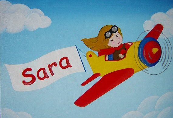 """Custom Acrylic Painting Personalized Name and Pilot Girl,  16""""x12""""."""