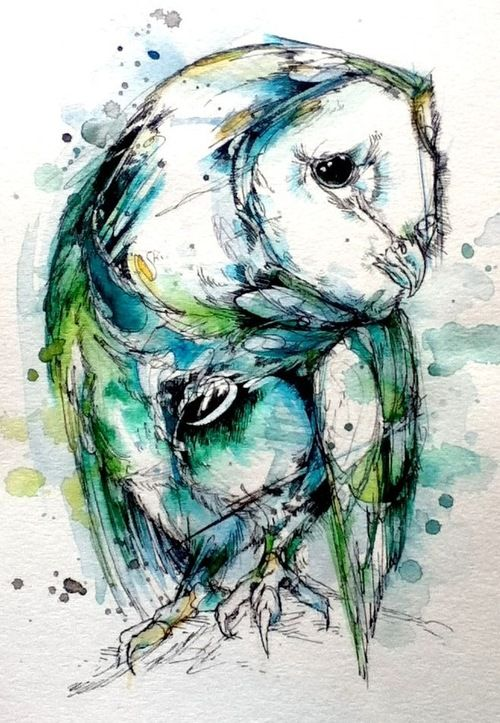 This illustration of a barn owl i find very interesting and colourful. The use of tone and darkness made with the detail of the figure and the features e.g beak eyes and feathers look very neat but the use of colour making it bleed out and splashed amongst the drawing makes it very interesting due to the fact the original colours of the bird are not present but a different colour pallete instead.
