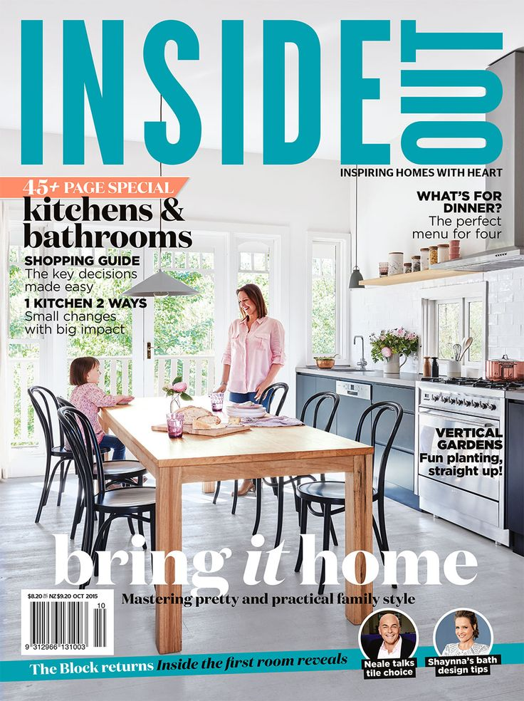The cover of the October 2015 issue of Inside Out magazine. Styling by Jacqui Moore. Photography by Eve Wilson. Available from newsagents, Zinio, http://www.zinio.com, Google Play, https://play.google.com/store/magazines/details/Inside_Out?id=CAowu8qZAQ, Apple's Newsstand, https://itunes.apple.com/au/app/inside-out/id604734331?mt=8&ign-mpt=uo%3D4 and Nook.