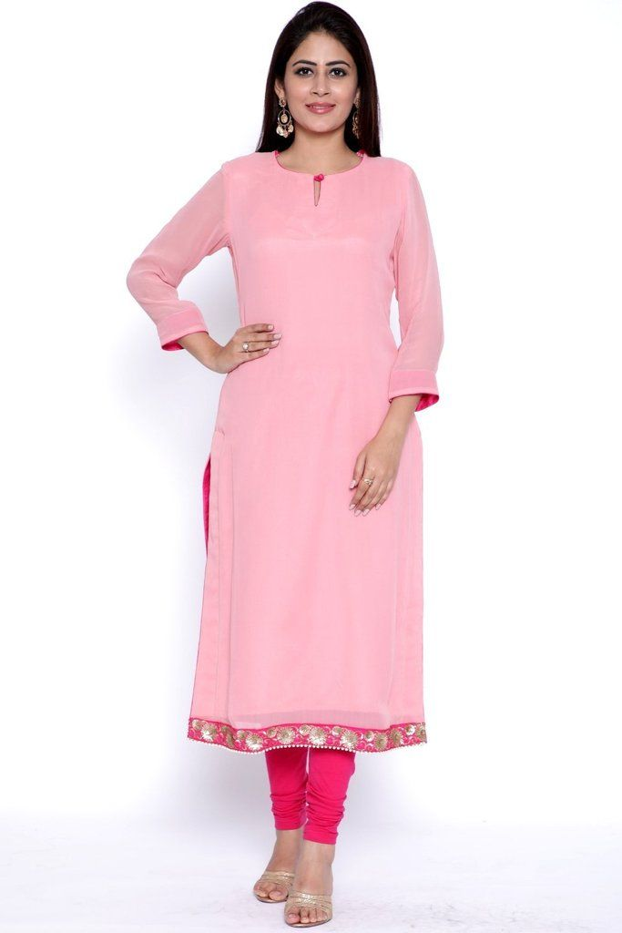 Peachesnpink Straight Kurti With Leggings Sleeves Designs For Dresses Simple Kurti Designs Kurti Neck Designs