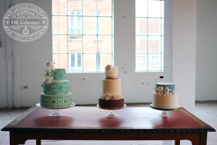 I had a wonderful day working with some amazingly talented people. Having a shoot in an old chocolate factory was very special indeed. I couldn't wait to show you something from the shoot so here's a still of the three cakes I made. Can't wait to show you more! Design by Oh Gateaux.