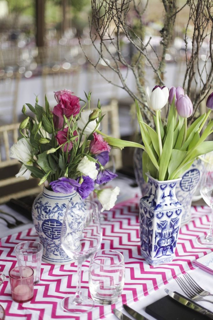 China Vases Pink and Purple Lisianthus Purple and White Tulips White and pink table runner