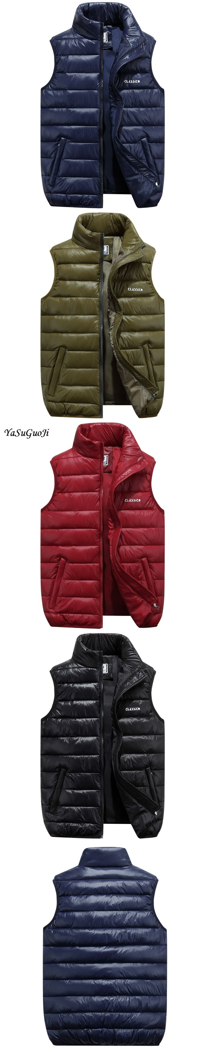 Fashion pure color stand collar cotton padded vest men thicken winter cotton down vest jacket chaleco hombre men's clothing MJ4