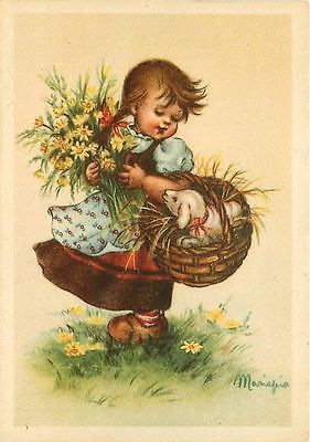 Artist Signed Mariapia Girl Flowers Lamb in Basket Antique Vintage Postcard Artist signed Mariapia 1940s Little girl with flowers and lamb in basket. Unused Casa d Art e Rota Milano Italy collectible