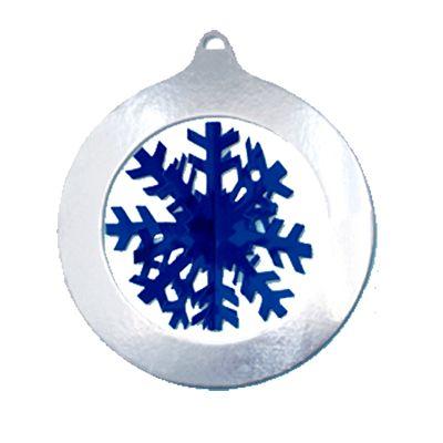 Zilveren sneeuwvlok decoratie. Mooie zilveren decoratie met een blauwe…