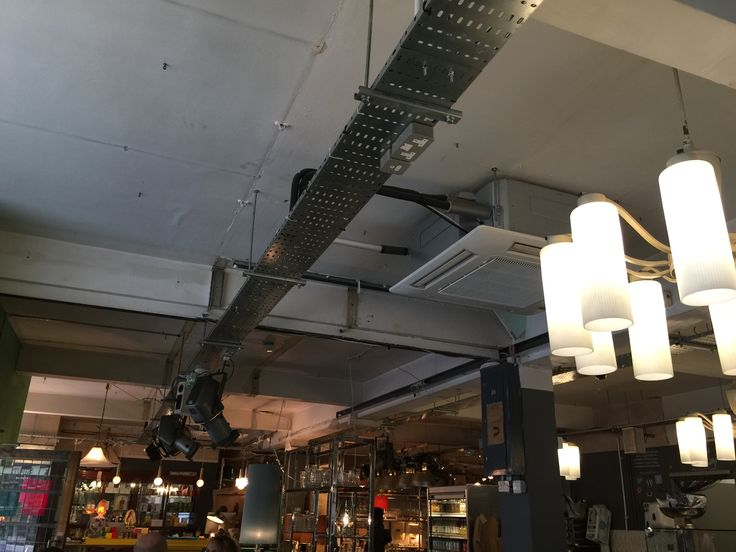 Not totally sold on Pitfield Cafe's ceiling - the components are right, and I like the heavy duty spots suspended from cable trays, but it feels a bit shabby and not-thought-about also.