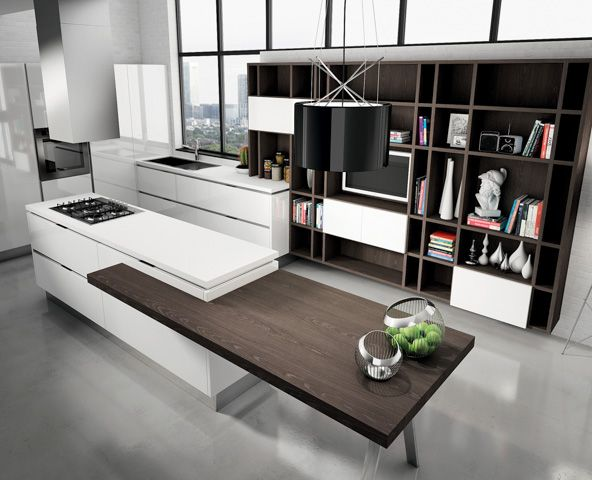 Modern kitchen cabinets from the Aran Cucine Bella collection. Custom built in Italy in a variety of natural, lacquered, and painted finishes.