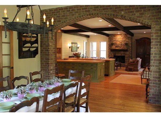 Exposed Brick Archway To Separate Dining Room And Kitchen