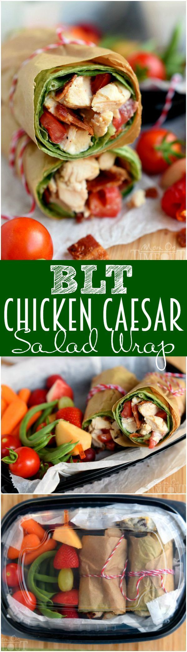 This BLT Chicken Caesar Salad Wrap has all the makings to become your new go-to recipe! Chicken, bacon, Caesar dressing, and tomato are wrapped up in an easy-to-make meal that is perfect for a light dinner or lunch.  | MomOnTimeout.com