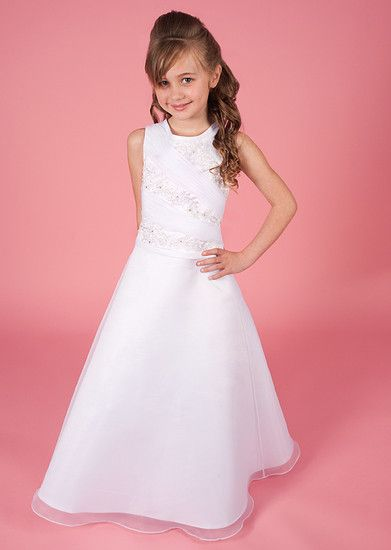New 2014 First Communion Dress Briony - Linzi Jay Collection - Sleeveless, Beaded, Satin & Organza Full Length If you want to register to preview our 2014 collection click on link http://www.firstholycommunionday.co.uk/2014-first-communion-dresses-589-c.asp