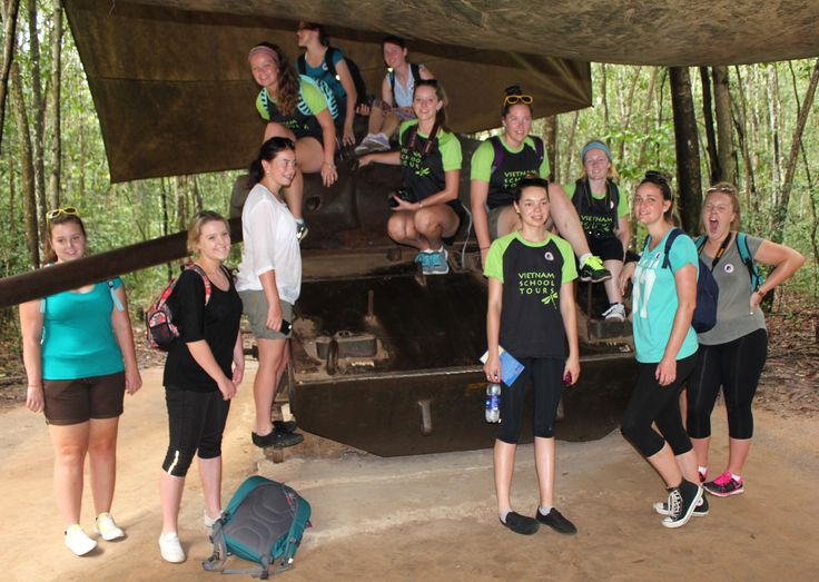 Enjoy funny moments together #VietnamSchoolTours #CuChi #Tunnels