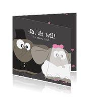 originele / grappige trouwkaarten met olifantjes als bruidspaar