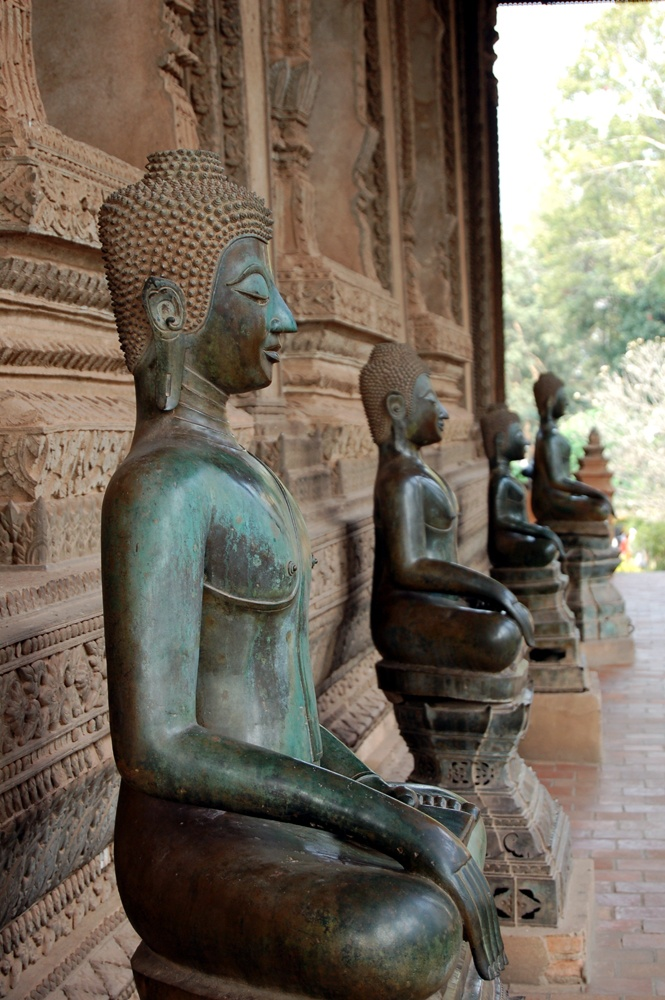 Row of Buddhas at Haw Pha Kaew Vientiane, Laos