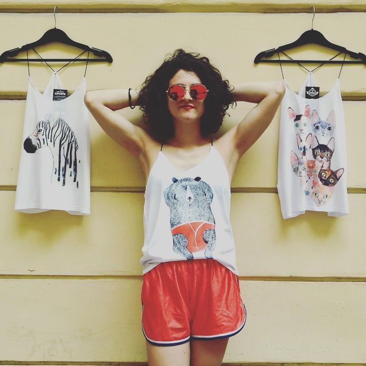 Monday funday  #unique #print #limited #tanktop #newcollection #summer #2016 #red #vintage #short #extraordinary #sunglasses #funny #outfitoftheday #dailylook #zebra #cats #catsofig #bear