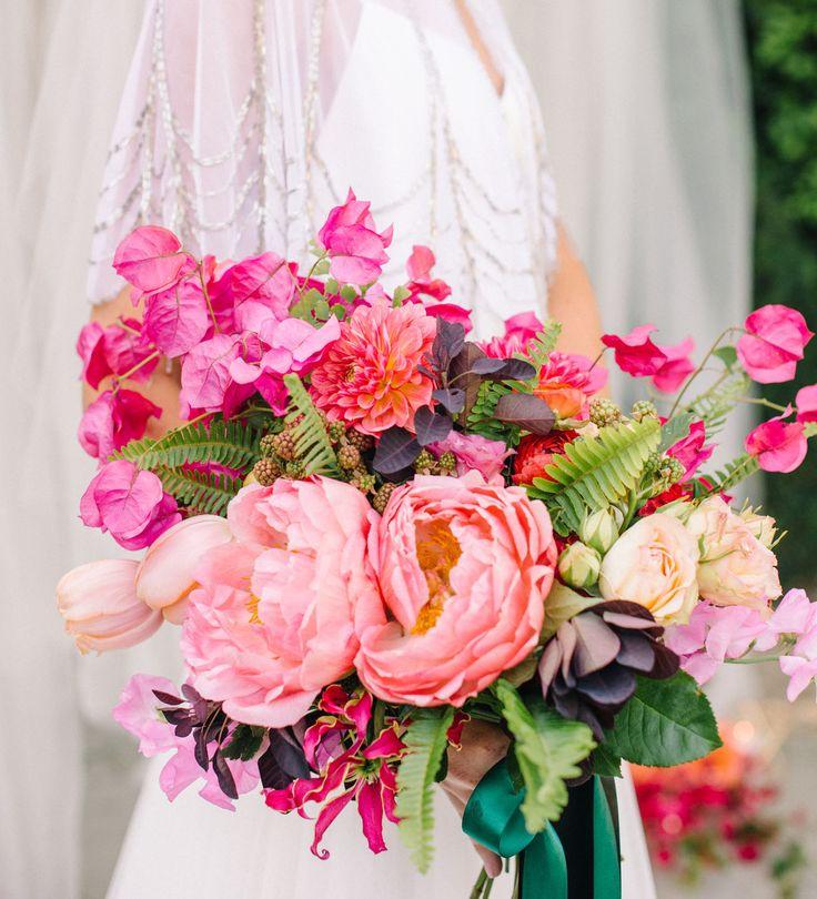Pink peony + bougainvillea bouquet