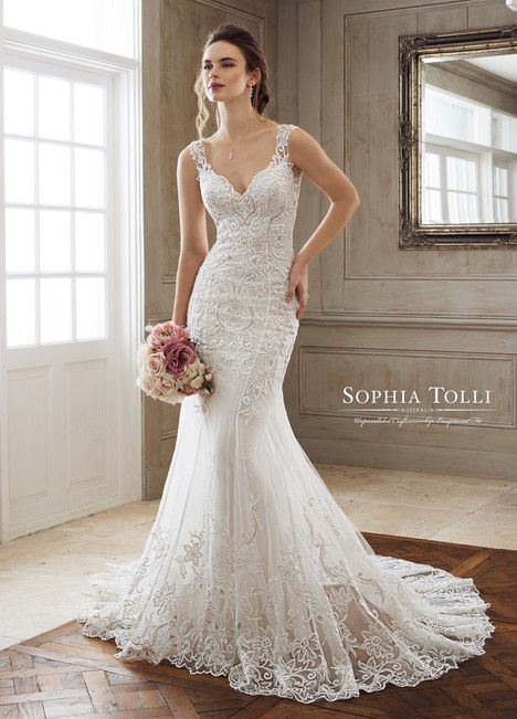 Iona Marie (Y11896A) dress (Trumpet, V-Neck, Straps,  Sleeveless ) from  Sophia Tolli 2018, as seen on dressfinder.ca. Click for Similar & for Store Locator.