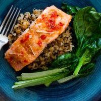 Glazed Salmon and Greens