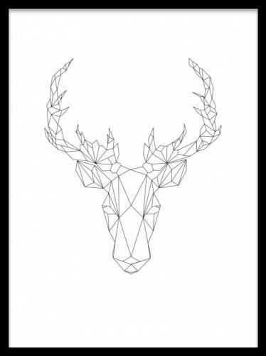 Geometric Deer, poster. Poster med geometrisk illustration. Poster med geometriska former av ett rådjur. Minimalistisk tavla som passar utmärkt i alla rum, tack vare sin svartvita design. Matcha den gärna med våra andra geometriska posters.