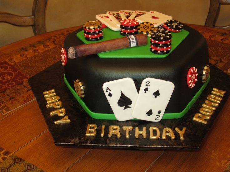 Birthday cakes casino themed cake hand painted fondant