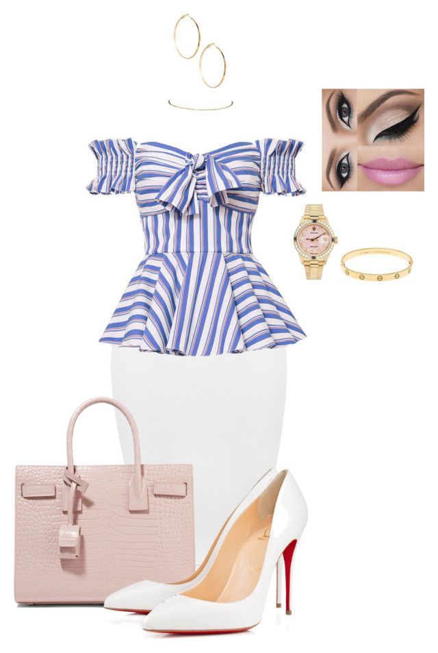 """Untitled #43"" by renelleboodoosingh on Polyvore featuring WearAll, Caroline Constas, Yves Saint Laurent, Christian Louboutin, GUESS by Marciano and Rolex"