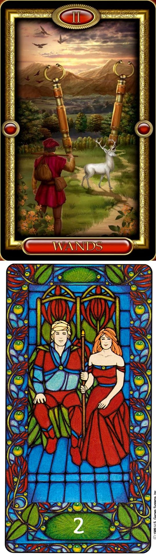 Two of Wands: moving forward and disorganization (reverse). Royale Tarot deck and Matt Meyers Tarot deck: tarot cards online free prediction, tarot on line free and tarot angeles. The best divination spell and tarot meanings.