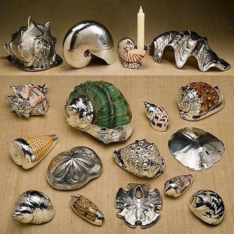 spray painted seashells