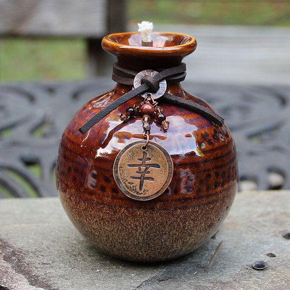 Asian Inspired Honey Pot Oil Lamp Tiki Torch by ShopPrettyPatina