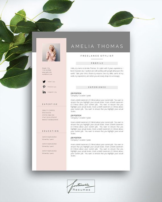 Resume Template 3 Page CV Cover Letter Instant Download For MS Word Amelia
