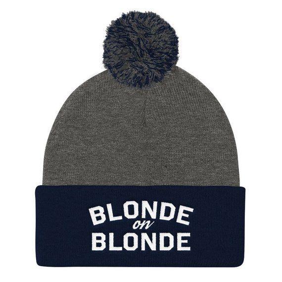 BLONDE on Blonde Pom Pom Knit Cap 0b91dc8270b2