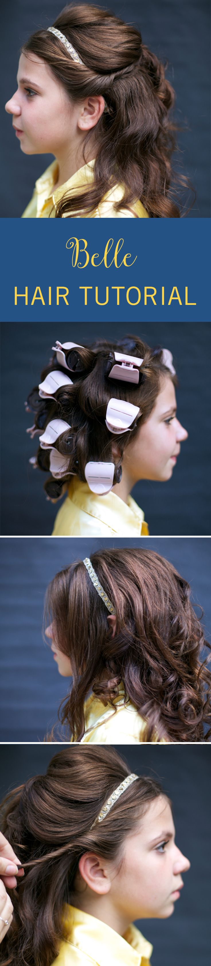 Turn your little princess into the Belle of the ball with this simple hair tutorial. This Beauty and the Beast inspired hairstyle is perfect for Halloween, or for any day your little girl wants to feel even more like a princess than usual. Click for the Disney hair tutorial. #HairTutorial