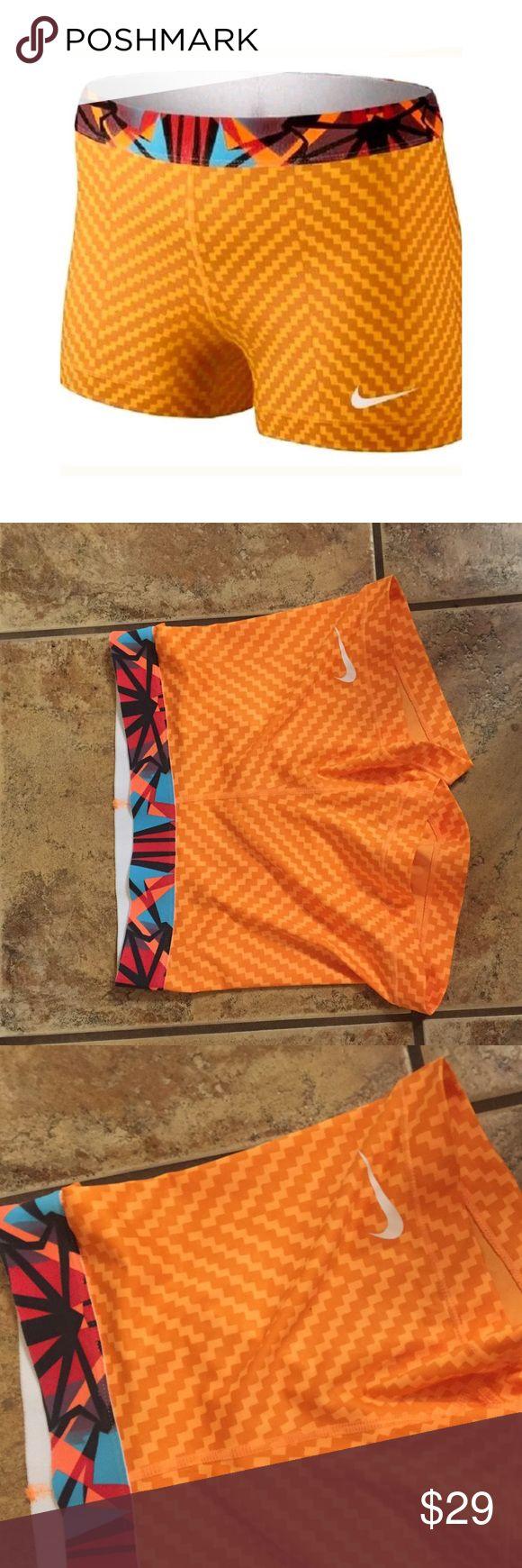 """NIKE Pro Womens 3"""" Dri Fit Zigzag Shorts Orange NIKE Pro Womens 3"""" Dri Fit Zigzag Shorts Orange size small Nike Shorts"""