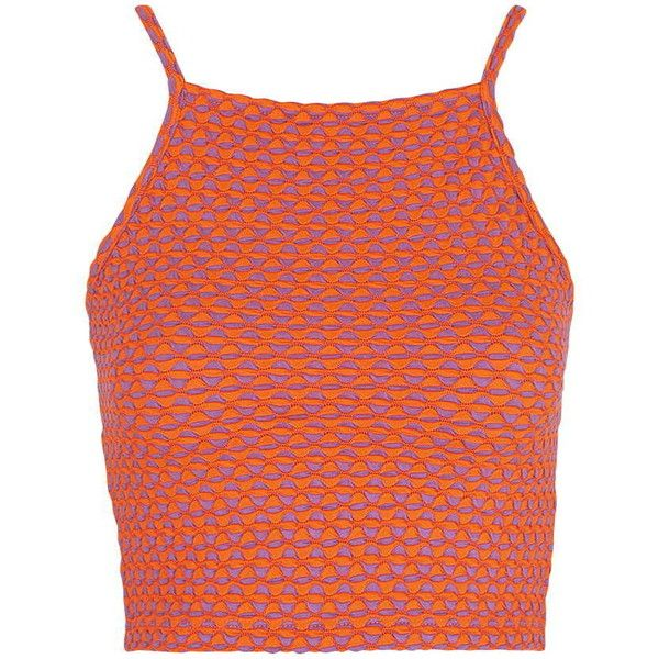 TOPSHOP Geometric Jacquard Crop Top ($12) ❤ liked on Polyvore featuring tops, crop tops, shirts, tank tops, orange, high neck top, bohemian tops, bohemian shirts, orange shirt and strappy top