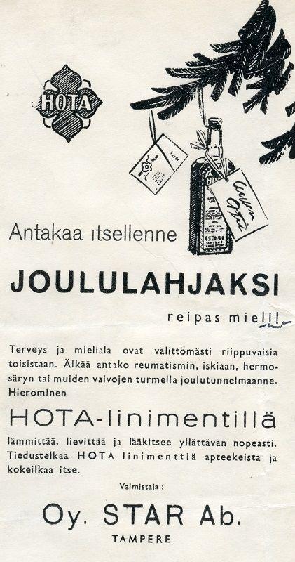 Hota-linimentti #lääkkeet #Hota #joululahjat #Star #särkylääkkeet #vanhatmainokset