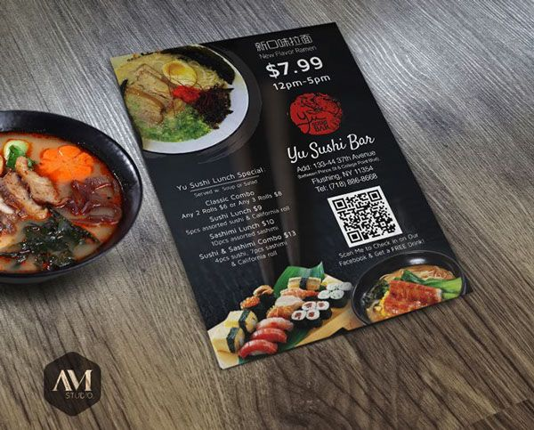 Prints // Flyers on Behance #Flyer for YU SUSHI BAR // #FLUSHING, NY  by AM Studio © 2014 Creative Design & Printing Services Email: AMStudio.USA@gmail.com