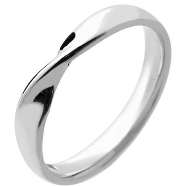 18ct+White+Gold+Ladies+Wedding+Ring+Width+3mm+with+a+Twist