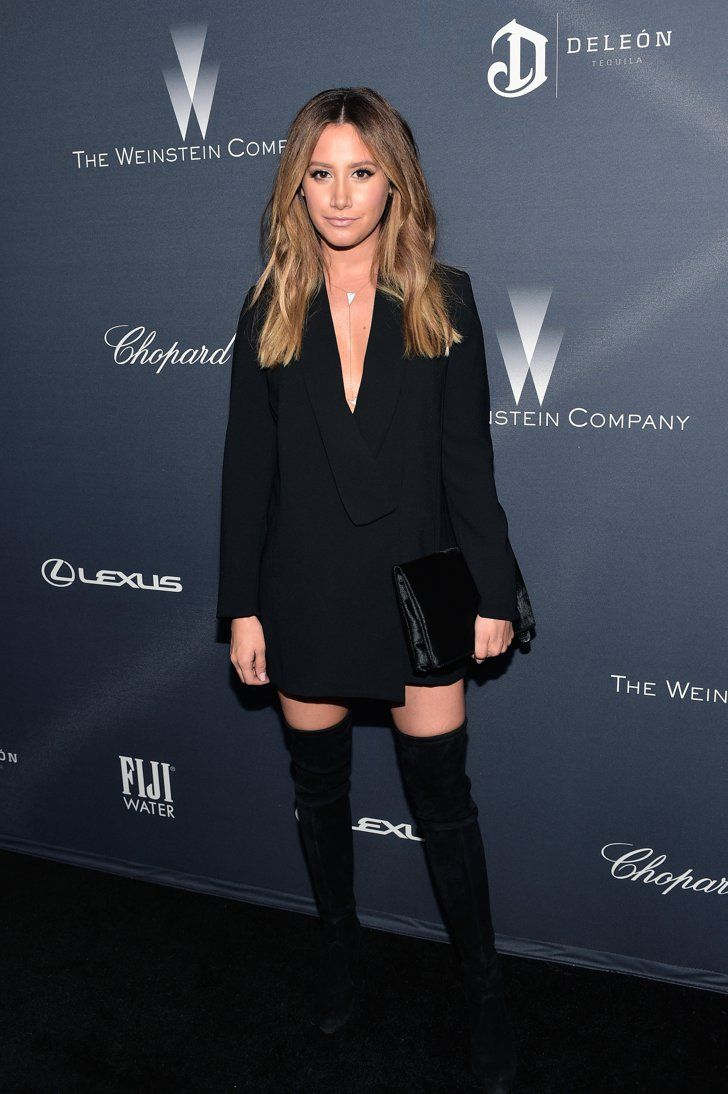 Pin for Later: If You Thought the Oscars Were All About the Gowns, You Need to See These Preparty Looks Ashley Tisdale Ashley Tisdale paired a tux-style dress with over-the-knee boots at The Weinstein Company's pre-Oscars dinner.