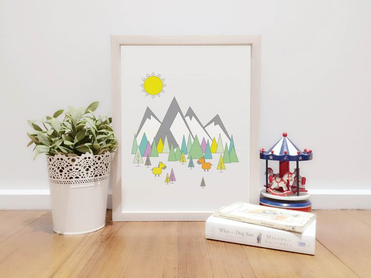 Mountain Horse Simple Colorful Illustration   Digital Download Printable art   Instant Download Wall Art Digital Décor   Adventure Download by BluStore on Etsy