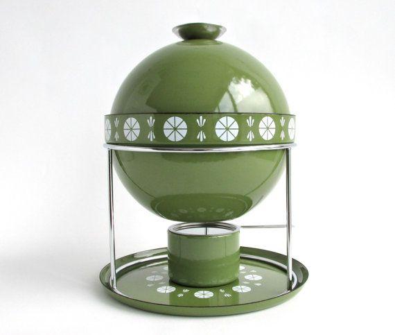 Cathrineholm Norway Viking Fondue Set / Soup Tureen Bowl / Mid Century Scandinavian Danish Modern Enamelware