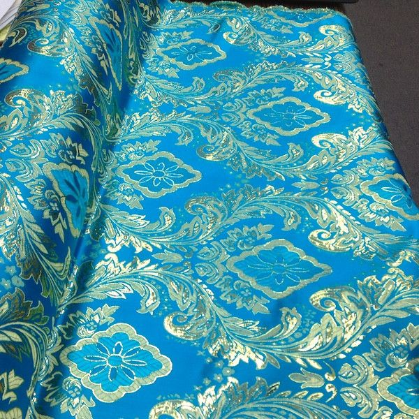 "Metallic Floral Brocade is 60"" inches wide and 100% polyester. This fabric is available in 9 colors and sold by the yard. This wonderful brocade is perfect for"