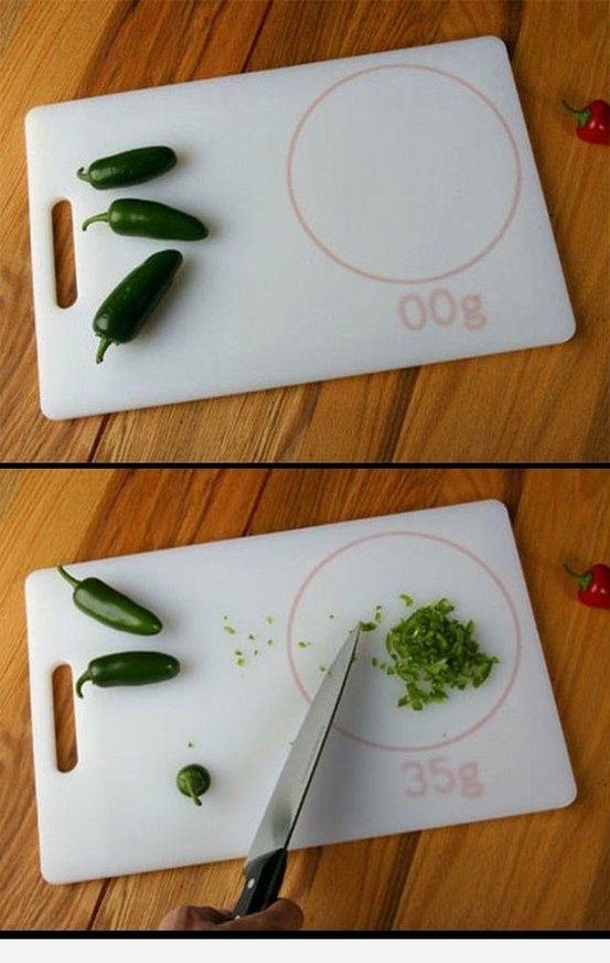 Cutting board with weight