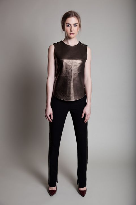 Tin leather and cigarette trousers by Caroline Matthews