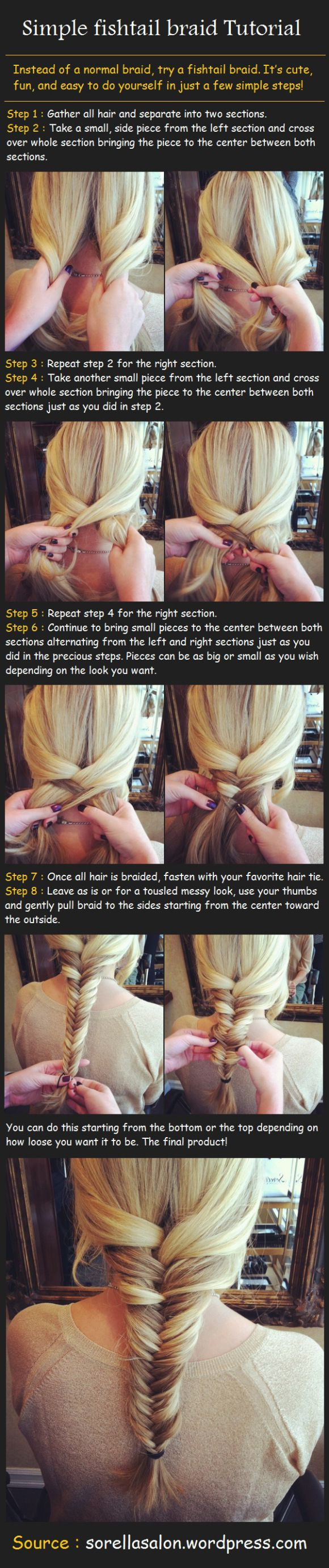 Simple Fishtail Braid Tutorial, I can do this on other people but not myself! still need to learn!