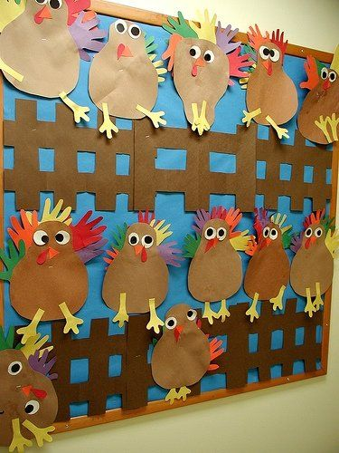 preschool bullentin board ideas - I don't do bulletin boards, but those are some cute turkeys!