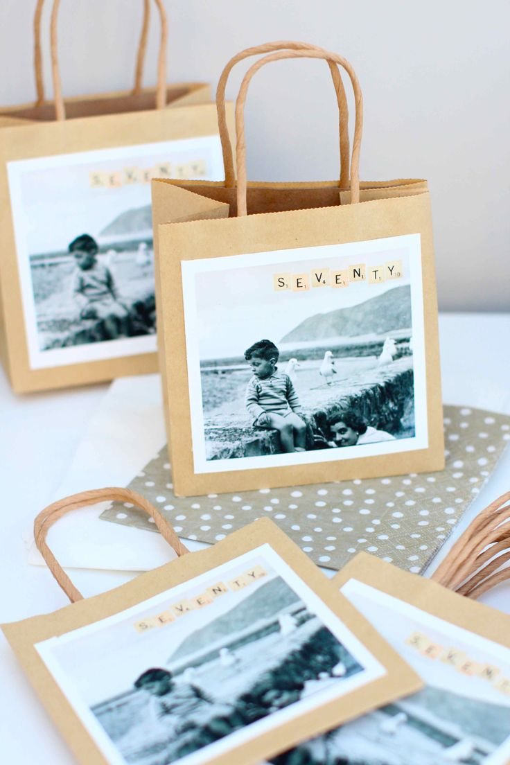Make personalised party bags for birthday cake using vintage photos!