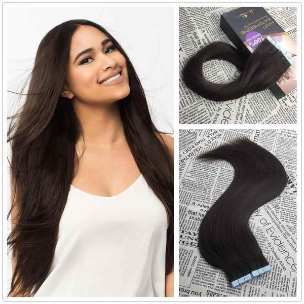 50g Tape In Brazilian Remy Human Hair Extension Tape In Hair