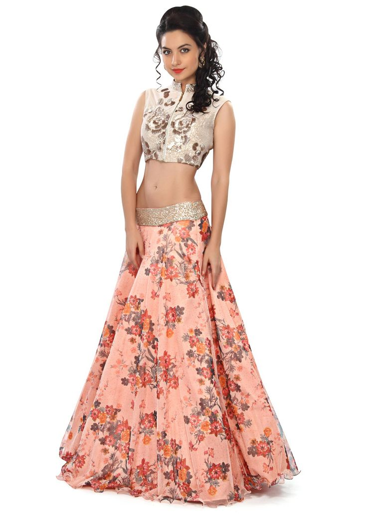 Peach lehenga embellished in sequin and floral print only on Kalki