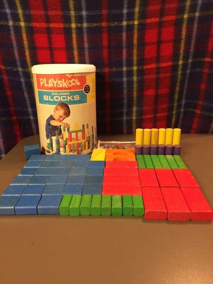 Vintage 1972 Playskool Colored Wooden Blocks Lot 68 Pieces